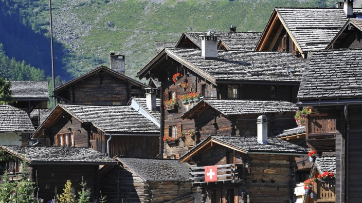Traditional Swiss wooden houses chalets in the Alpine village Grimentz Valais Wallis Switzerla