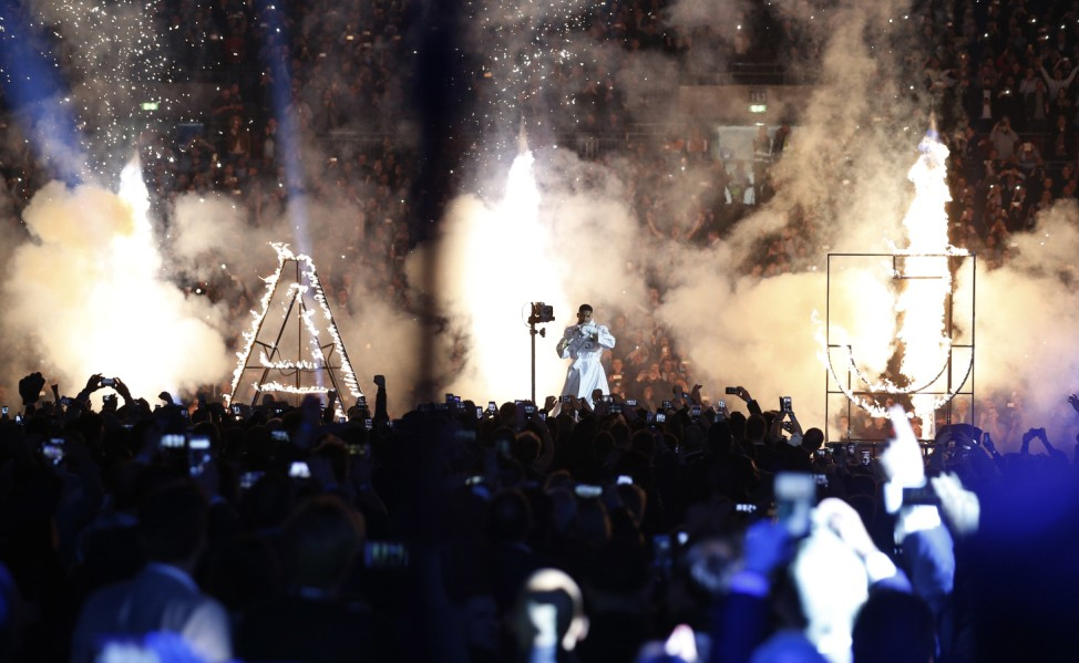 Anthony Joshua makes his entrance before the fight
