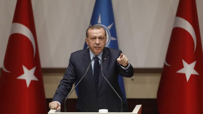 Turkish President Erdogan makes a speech at the ruling AK Party's headquarters in Ankara