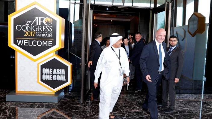 FIFA President Gianni Infantino leaves after attending the inauguration session of 27th AFC Congress in Manama
