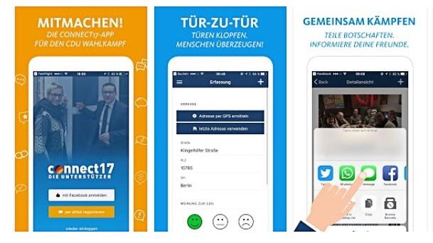 """Landtagswahl: Screenshots der """"connect17""""-Wahlkampf-App der CDU aus dem App-Store von Google"""