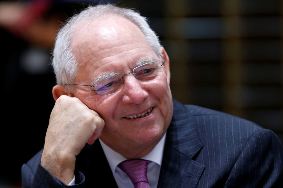 German Finance Minister Schaeuble attends EU finance ministers meeting in Brussels