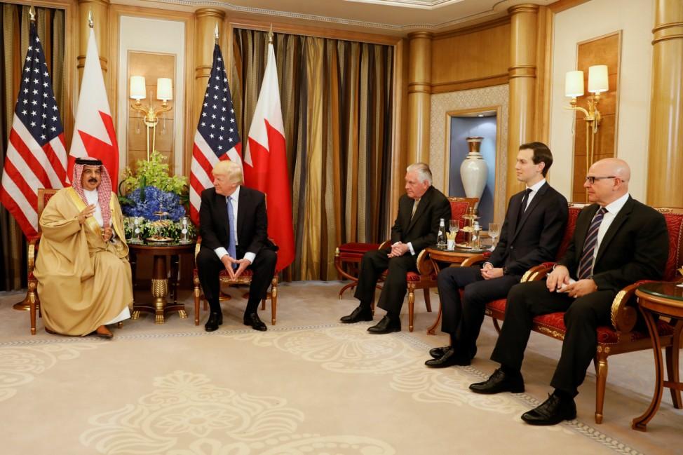 Trump meets with Bahrain's King Hamad bin Isa Al Khalifa in Riyadh, Saudi Arabia