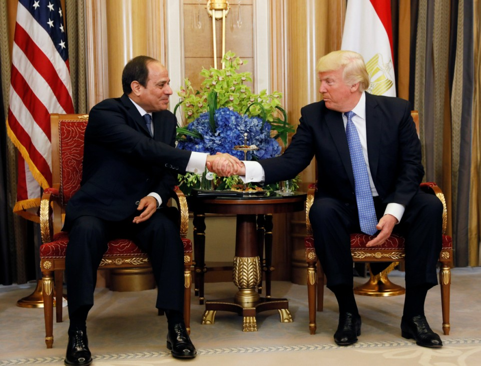 U.S. President Donald Trump meets with Egyptian President Abdel Fattah al-Sisi