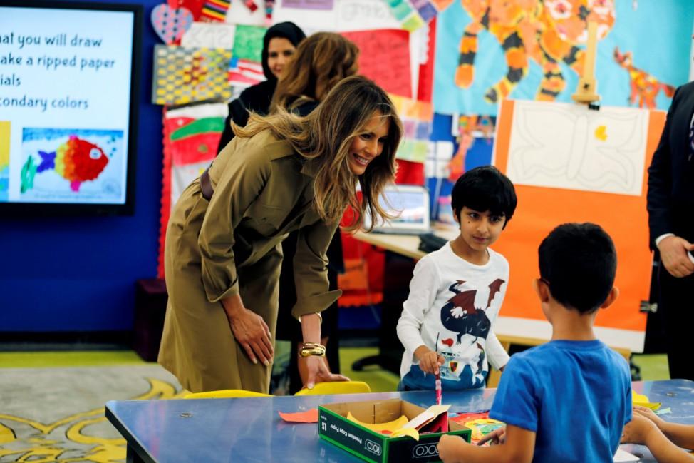 First lady Melania Trump visits American International School of Riyadh, Saudi Arabia