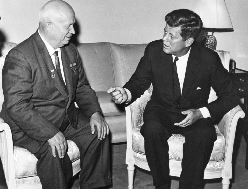Handout image shows former U.S. President Kennedy meeting with former Soviet leader Khrushchev at the U.S. Embassy in Vienna