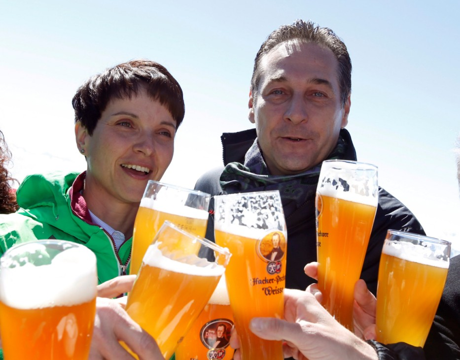 Petry, chairwoman of anti-immigration party Alternative for Germany (AfD) and head of the Austrian Freedom Party (FPOe) Strache toast with beer at Germany's highest mountain Zugspitze near Garmisch-Partenkirchen