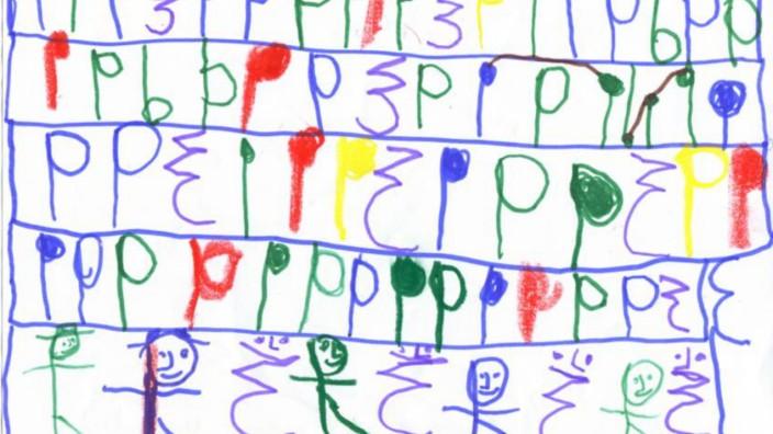 """Freilerner: """"Komposition für ein oder zwei Celli"""" heißt dieses Bild, gemalt vom siebenjährigen Max Werth.""""Da ist es förmlich aus ihm herausgeflossen, da hat er aus seinem Innersten geschöpft"""", sagt seine Mutter, die als freischaffende Musikerin arbeitet."""