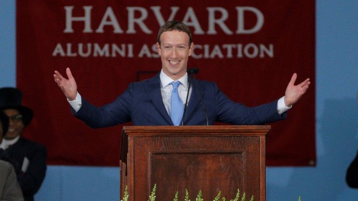 Facebook founder Mark Zuckerberg speaks during the Alumni Exercises following the 366th Commencement Exercises at Harvard University in Cambridge