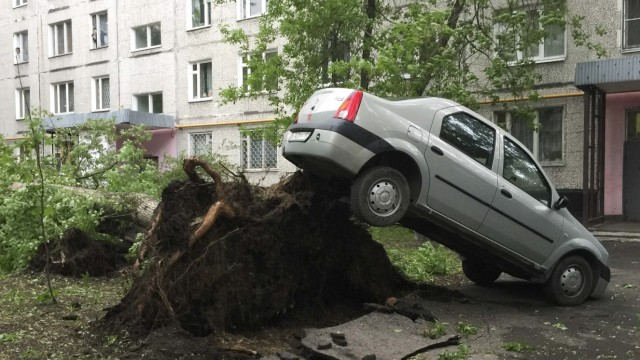 A view shows a car lifted by the roots of a tree following a heavy storm in Moscow