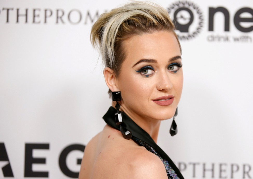 FILE PHOTO: Singer Katy Perry poses at Elton John's 70th Birthday in Hollywood