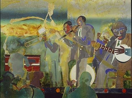 """Kunstwerk von Romare Bearden """"'Profile/Part II, The Thirties: Uptown Sunday Night Session"""""""