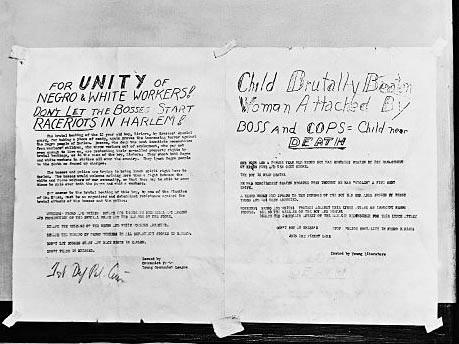 Flugblatt gegen Rassenunruhen in Harlem, 1935