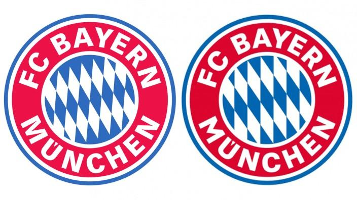 Neues Bayern-Logo: In der alten Version (links) ist das M größer, das C kleiner und es gibt acht Rauten in der Mitte. Aus denen wurden nun sieben, und die sind um fünf Grad verdreht (rechts).