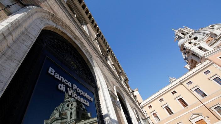 FILE PHOTO: A Banca Popolare di Vicenza sign is seen in Rome