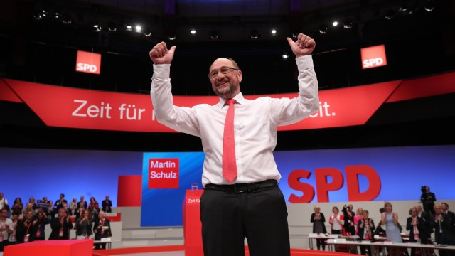 German Chancellor candidate Schulz of the SPD reacts after delivering his speech at the party convention in Dortmund
