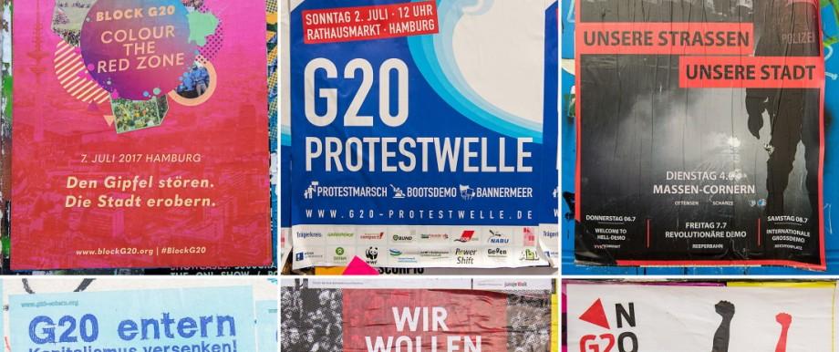 Plakate gegen G20-Gipfel in Hamburg