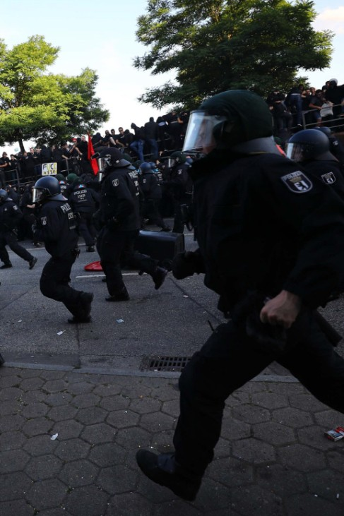 German riot police try to stop protesters during the demonstrations during the G20 summit in Hamburg