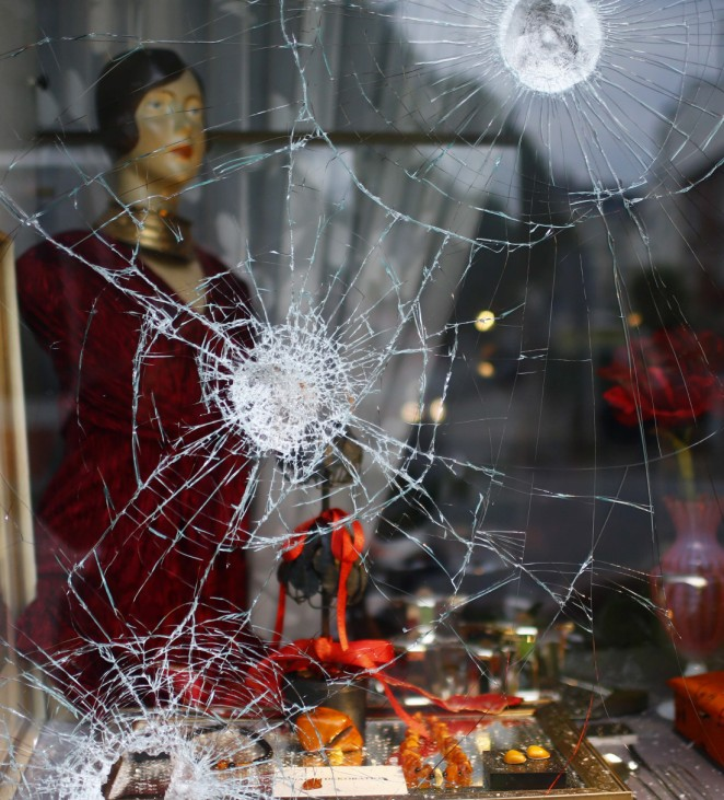 Picture shows the smashed windows of a shop following demonstrations during the G20 summit in Hamburg