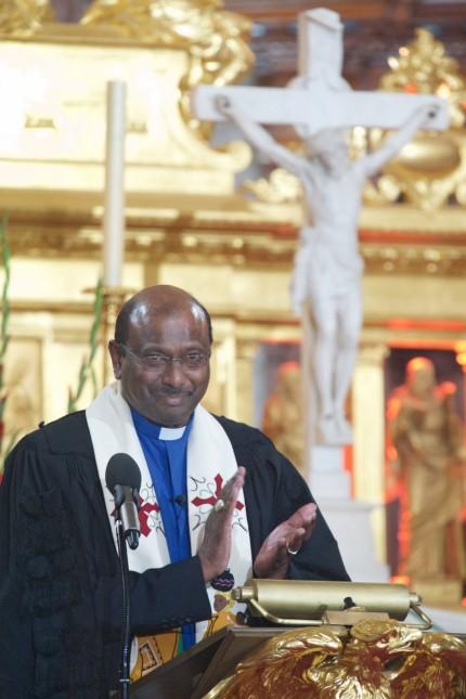 Der Praesident der Weltgemeinschaft Reformierter Kirchen WCRC Jerry Pillay spricht am Sonntag 0