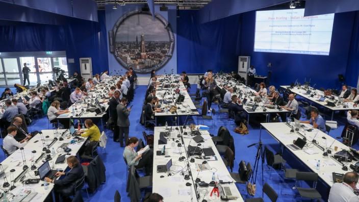 Medienzentrum beim G-20-Gipfel in Hamburg
