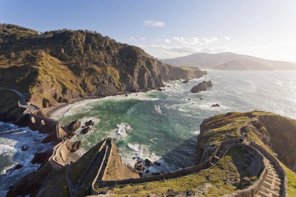 Spain Biscay Basque Country Steps to the San Juan de Gaztelugatxe chapel on a rocky island PUBLI