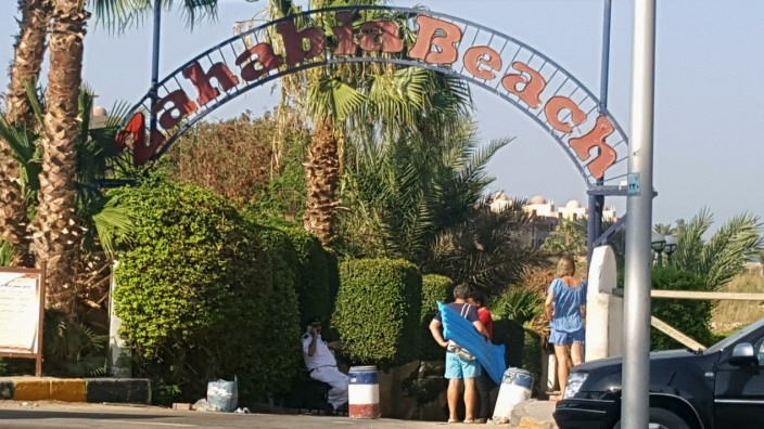 The entrance of the beach of the Zahabia hotel resort, seen after an Egyptian man stabbed two German tourists to death and wounded four others in Hurghada