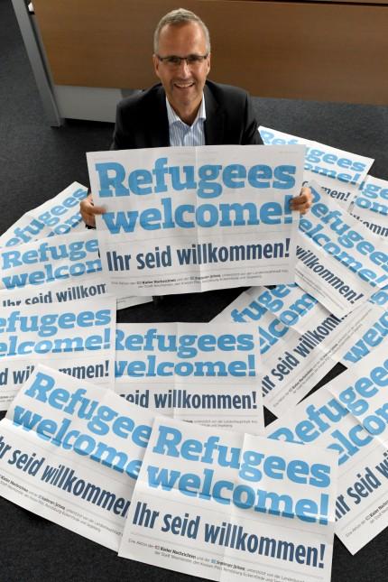 Plakataktion 'Refugees welcome!'