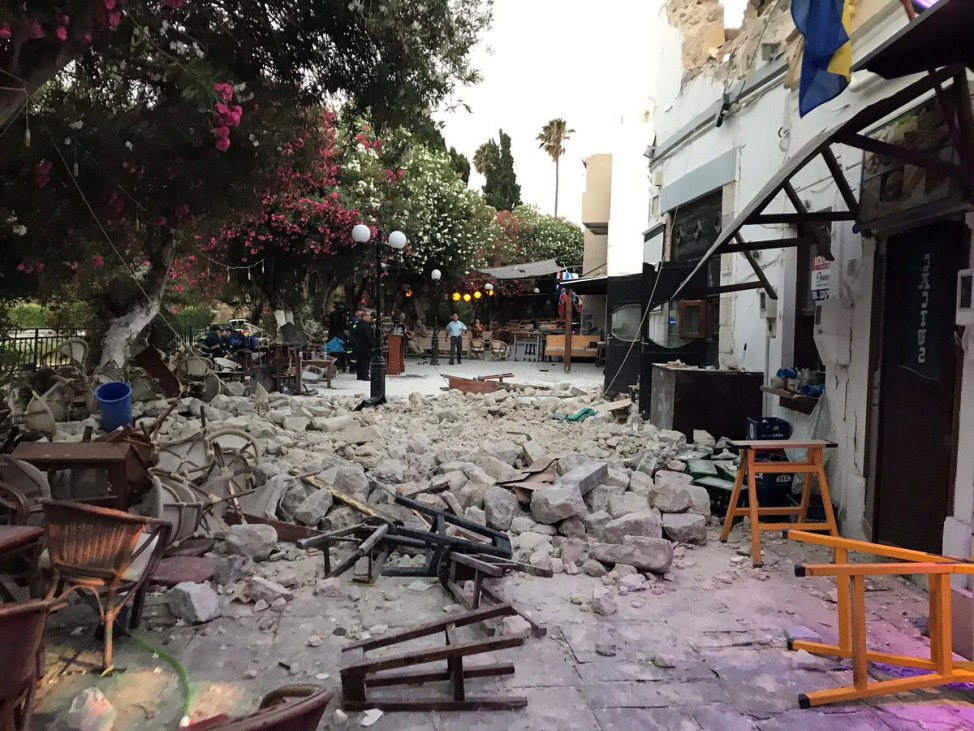 Damage caused by a quake in Kos