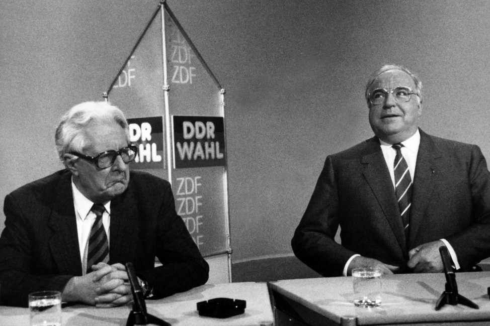 Hans-Jochen Vogel und Helmut Kohl, 1990