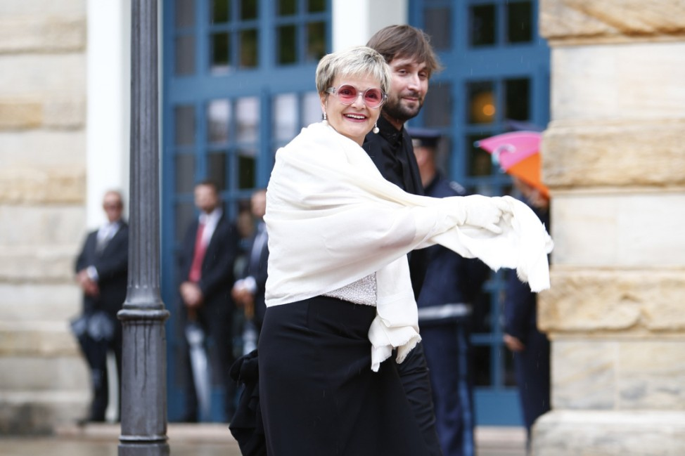 German Princess Gloria von Thurn und Taxis arrives at the red carpet for the opening of the Bayreuth Wagner opera festival outside the Gruener Huegel (Green Hill) opera house in Bayreuth