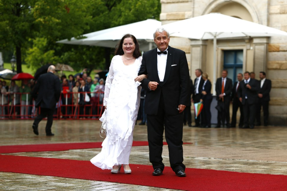 Bavarian Minister of Culture Spaenle arrives at the red carpet for the opening of the Bayreuth Wagner opera festival outside the Gruener Huegel (Green Hill) opera house in Bayreuth