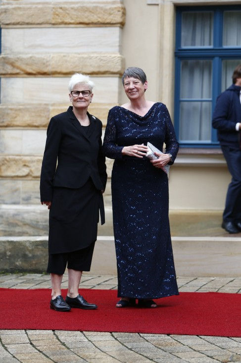 German Minister of Environment Hendricks arrives at the red carpet for the opening of the Bayreuth Wagner opera festival outside the Gruener Huegel (Green Hill) opera house in Bayreuth