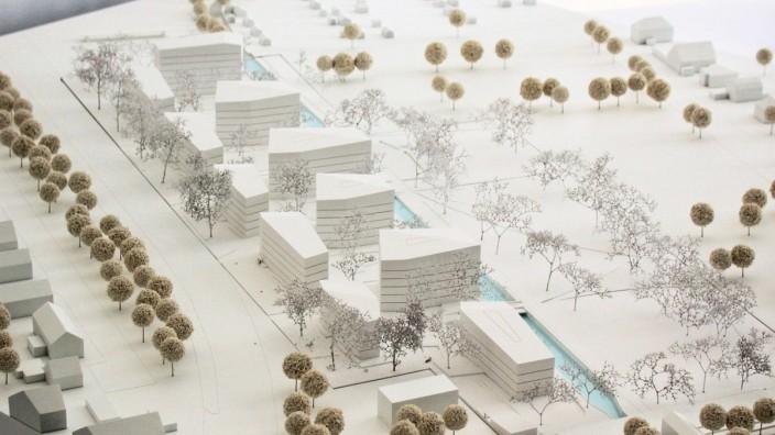 Modell für Wohnquartier an der Freisinger Landstraße 40 bis 44; Siegerentwurf Architekturbüro: zillerplus Architekten und Stadtplaner München; Bauherr: Bayerische Hausbau;