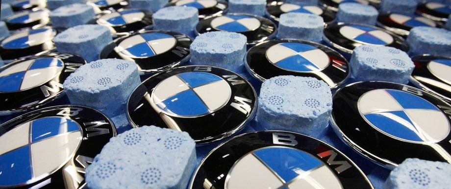 File photo of emblems of German luxury car maker BMW pictured in a box at the BMW factory in Dingolfing near Munich
