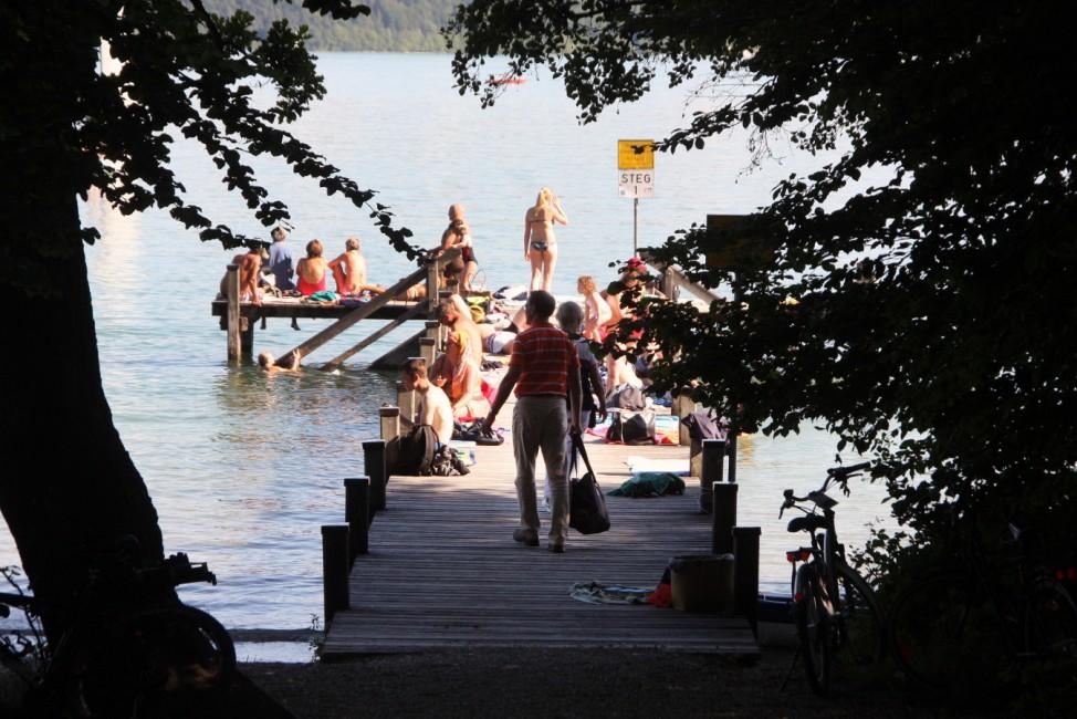 Das Badegelände Paradies am Starnberger See bei Possenhofen
