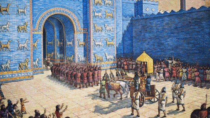 Reconstruction of Ishtar Gate in ancient Babylon