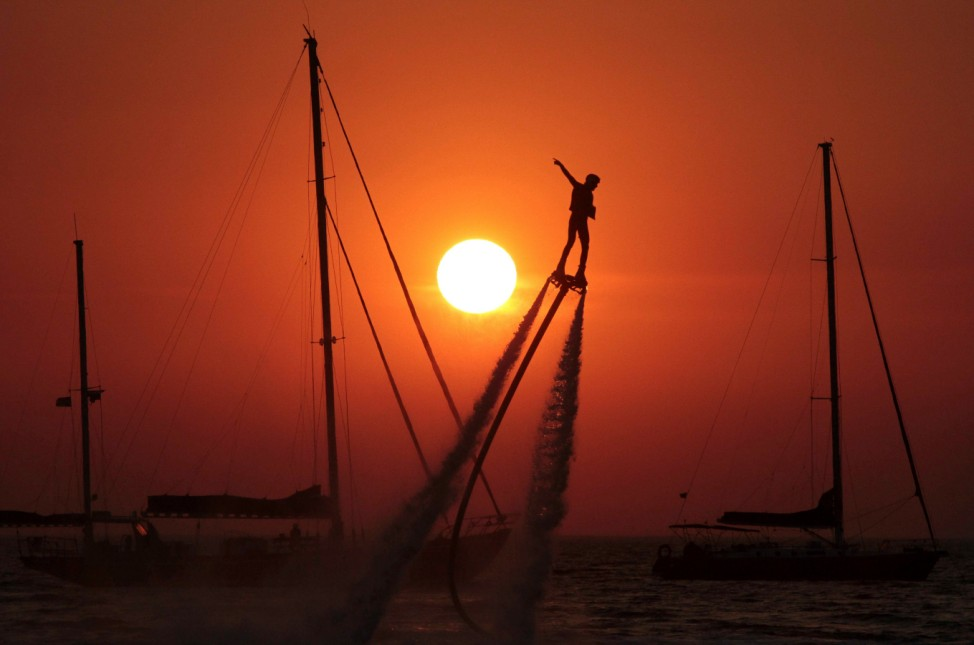 A man practices flyboarding in Crimea