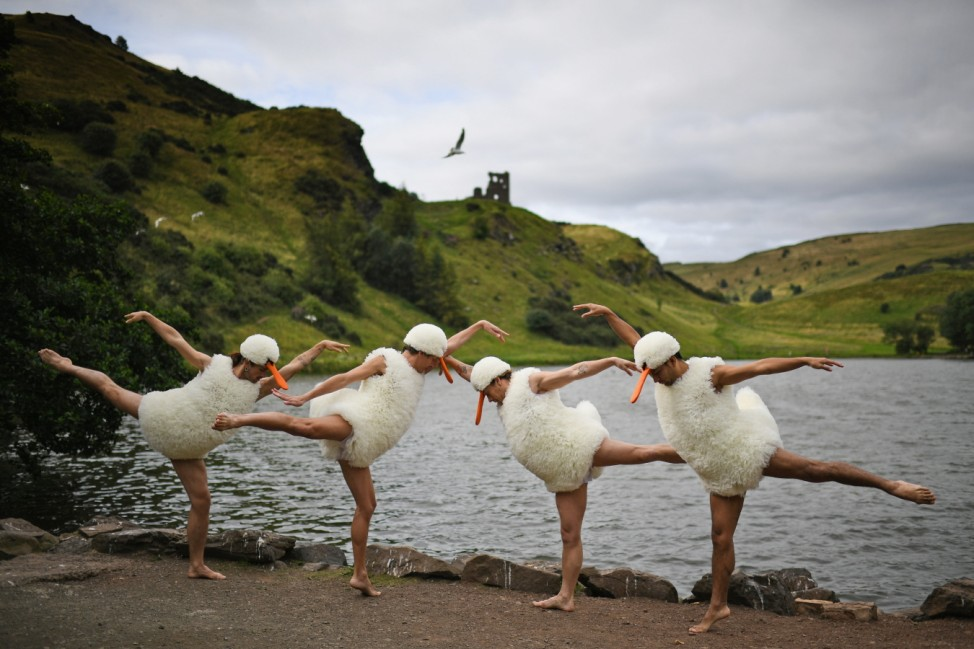 Dancers From The French Act Tutu Perform Spoof of Swan Lake