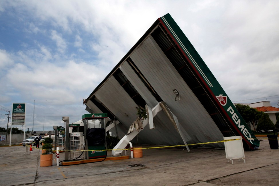 A destroyed Pemex gas station is seen after the passing of Hurricane Franklin, in Villanueva in Veracruz state
