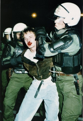 Clashes - After heavy clashes in Rostock Monday evening, August 24, 1992...