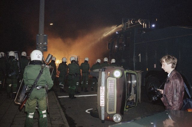 Police with water cannons during heavy clashes in Rostock...