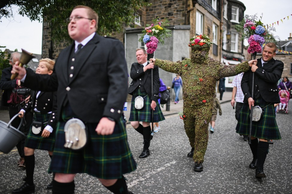 Burdock Covered Burry Man Brings Luck To Scottish Town