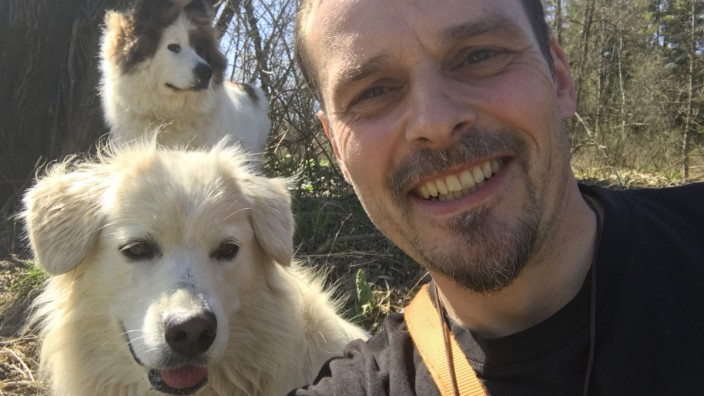 """Beruf Hundesitter: Hundesitter Peter Sigmund und seine """"Arbeitskollegen""""."""