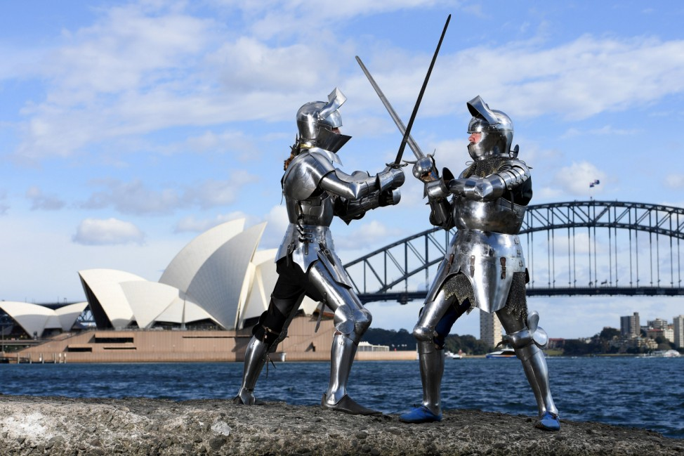 Medieval jousters Binks and McKinnon pose during a photo call for the World Jousting Championships to take place in Sydney