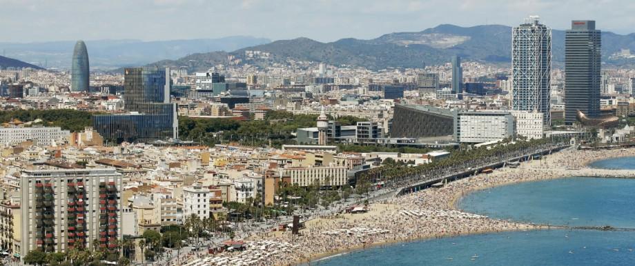 A view of Sant Sebastia and Sant Miquel, Barceloneta and Somorrostro beaches in Barceloneta neighborhood in Barcelona