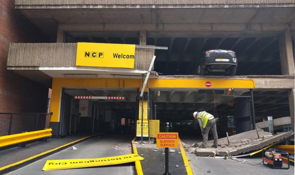 Parkhaus-Schaden in Nottingham