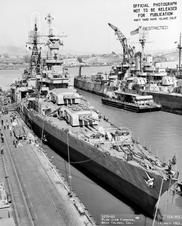 The World War II cruiser USS Indianapolis off the Mare Island Navy Yard California