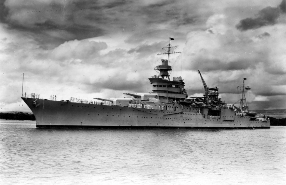The World War II cruiser USS Indianapolis at Pearl Harbor Hawaii