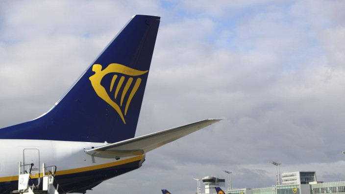 A Ryanair aircraft parks at tarmac of Fraport airport in Frankfurt